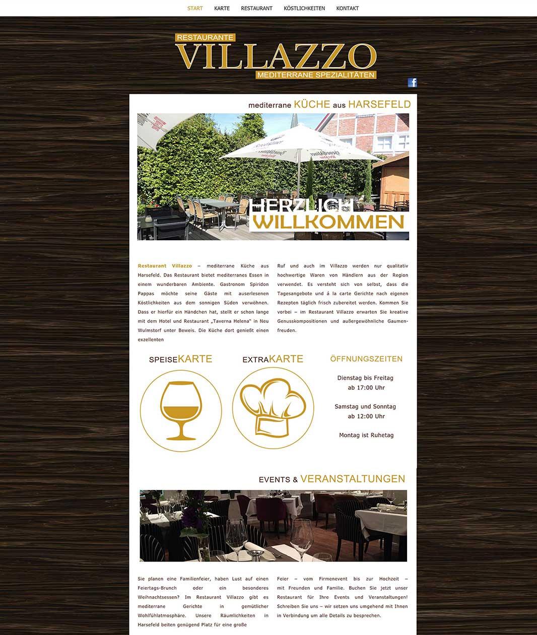 Restaurant-Villazzo-Erstellung-einer-Internetseite